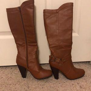 JustFab zip up heeled boots